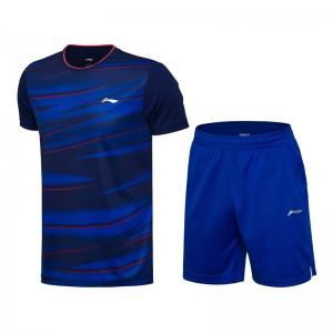Li-Ning 2017 Badminton Team Match Suit one Tee Shirt One Pants - Dark Blue