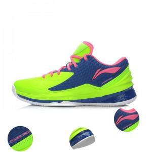 Li-Ning Shadow Walker Low Mens Professional Basketball Shoes - Pink/Green/Blue