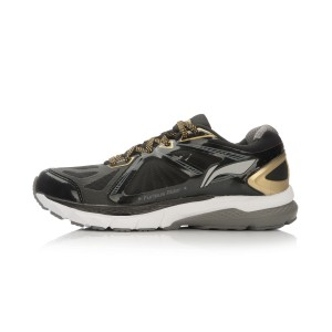 Li-Ning Mens Smart Running Shoes Furious Rider II Stability Sneakers - Black/Shinning Gold