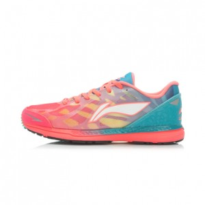 Li-Ning Cloud-Horse Women's Lightweight Running Shoes-Bright Fluorescent Red/Butterfly Blue