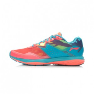 Li-Ning Women's Second Generation Damping Running Shoes-Bright Fluorescent Green/Butterfly Blue/Bright Fluorescent Red