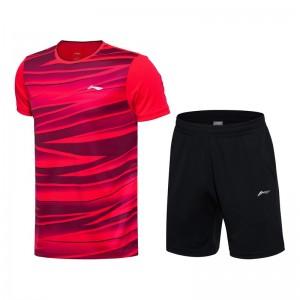 Li-Ning 2017 Men's Badminton Team Match Suit one Tee Shirt One Pants - Red/Black