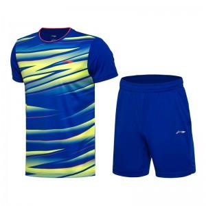 Li-Ning 2017 Men's Badminton Team Match Suit one Tee Shirt One Pants - Yellow Blue/Blue