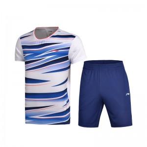 Li-Ning 2017 Men's Badminton Team Match Suit one Tee Shirt One Pants - White/Blue