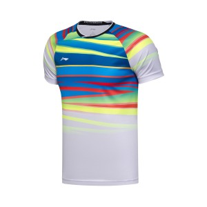 Li-Ning 2017 National Badminton Team Men's BWF World Badminton Championships Tee Shirt Lining Badminton Tournament Tees Fans Edition