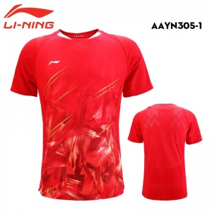 Li-Ning 2018 Men's China National Badminton Team Badminton Game Tee Shirt - Red