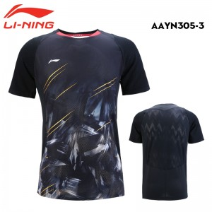 Li-Ning 2018 Men's China National Badminton Team Badminton Game Tee Shirt - Black