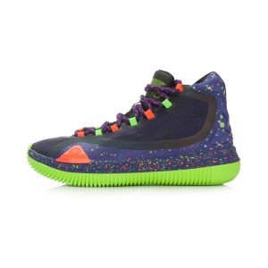 Li-Ning Bow Bite Men's High Top Professional Basketball Shoes - Lakers Purple/Fluorecent Green