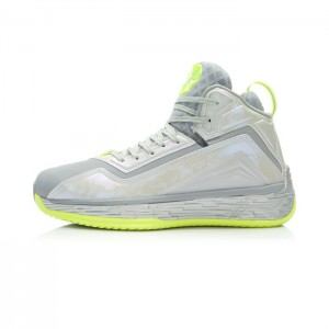 Li-Ning Wade Fission 2 Premium Basketball Shoes - Snow Grey/Bright Fluorescent Green/Silver
