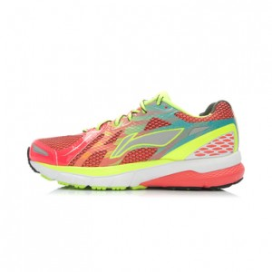 Li-Ning Women's High-Tech Damping Stability Running Shoes-Bright Fluorescent Red/Bright Fluorescent Green/White