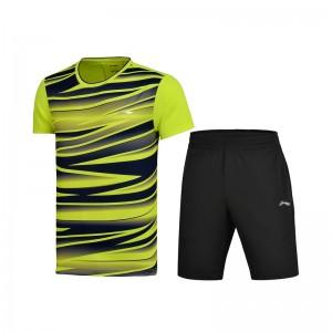 Li-Ning 2017 Men's Badminton Team Match Suit one Tee Shirt One Pants - Green/Black